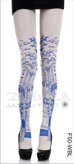 Blue City Landscape on White Tights print tight, leg, fashion, style, zohara tight, white, tights, blues, blue prints