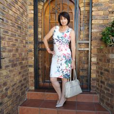 G Couture summer floral dress Nude heels