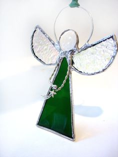 Angel suncatcher ornament stained glass decoration star charm green holiday Christmas