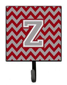 Letter Z Chevron Crimson and Grey Leash or Key Holder CJ1043-ZSH4