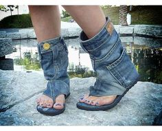 Inspiration - The Jeans Sandal Boots by DaniKshoes are Pants for the Feet