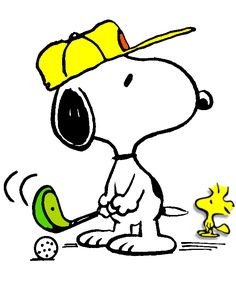 SNOOPY & WOODSTOCK~Snoopy golfing with Woodstock