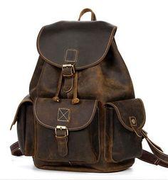Dark Brown Genuine Vintage Leather Rucksack