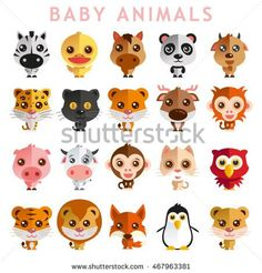 Cute Baby Animal Vector illustration Icon Set