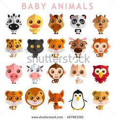 Cute Baby Animal Vector illustration Icon Set