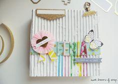 Mini álbum con encuadernación de espina con tapas de cartón