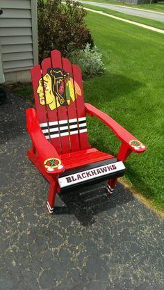 Blackhawks chair-custom paint job by:AJ Blackhawks Hockey, Hockey Puck, Chicago Blackhawks, Adirondack Chairs, Outdoor Chairs, Outdoor Decor, Wood Projects, Woodworking Projects, Custom Paint Jobs
