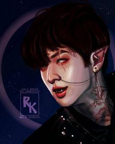 "Riss on Instagram: ""[WEREWOLF! KIM SEOKJIN] >>SWIPE FOR COOL VERSION>> I made this for my first #inktober series eheheh.. I hope you guys love it💜💜 . .…"" Fanart Bts, Taehyung Fanart, Demon Drawings, Bts Drawings, Seokjin, Bts Halloween, Bts Gifs, Bts Maknae Line, K Pop"