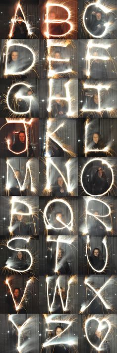 DIY: How to photograph writing with sparklers! DIY: How to photograph writing with sparklers! Sparkler Photography, Photography Camera, Photoshop Photography, Light Photography, Digital Photography, Alphabet Photography, Photography Lessons, Photography Projects, Photography Tutorials