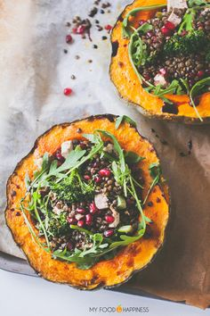Impress your guests with these delicious Lentil Pumpkin bowls! Gluten-free and vegan main meal, ideal for your Christmas Eve or Thanksgiving dinner. This recipe can be vegan or vegetarian. Vegetarian Recipes, Cooking Recipes, Healthy Recipes, Vegan Meals, Vegan Lunches, Vegetable Recipes, Vegan Food, Fall Recipes, Healthy Eats