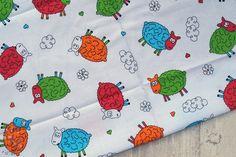 Tkanina bawełniana kolorowe owieczki na białym 140g/m2