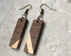 Wood Rectangle Earrings - Mismatched Earrings - Salvaged Wood Earrings - Black Walnut - Eco-Friendly Earrings - Walnut Wood Earrings - Boho