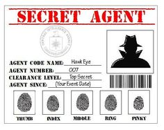Items similar to Secret Agent, Spy, Detective, CIA Printable ID Card Party Favor Badge in PDF Format on Etsy Secret Agent Party, Spy Birthday Parties, Detective Theme, Id Card Template, Spy Kids, Vacation Bible School, Worksheets For Kids, Science Worksheets, Crime