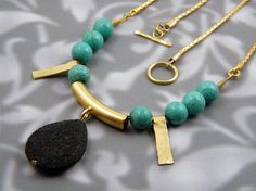 Gold turquoise necklace black lava necklace by BeautySpotJewelry, $88.00