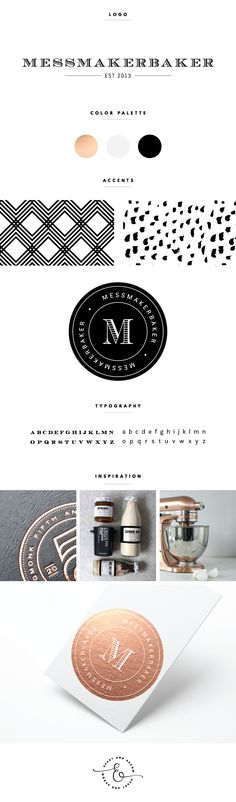 Rose gold, black, and white brand board and logo design  |  by Heart & Arrow