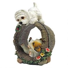 Design Toscano H x W Dog Garden Statue at Lowe's. Our Jack Russell Terrier and West Highland Terrier figurines roughhouse around a summertime barrel in this darling animal statue that's almost as much fun Dog Garden Statues, Outdoor Garden Statues, Gnome Statues, Dog Statues, Highlands Terrier, West Highland Terrier, Yorkshire Terrier Puppies, Terrier Dogs, Cat Statue