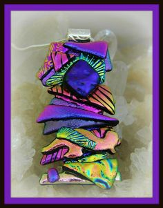 Picasso Style Dichroic Glass Pendant