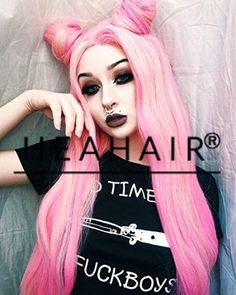 Heahair® Fashion Clolor Pink Handited Synthetic Lace Front Wigs for Cosplay (Deep Pink) - Brought to you by Avarsha.com