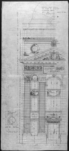 Architectural blueprint for the Bank of Commerce Building on Yonge St.