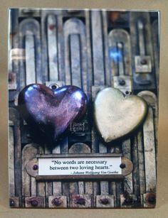 Ceramic Art Tile Two Hearts