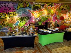 Graffiti Writting and Decor, Multi Color Scheme Skate Party, Neon Party, Disco Party, Prince Birthday, Prince Party, 80s Birthday Parties, Birthday Party Themes, Birthday Bash, 90s Theme Party Decorations