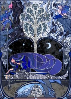 Stained Glass Window Style Fantasy Illustrations by Jian Guo