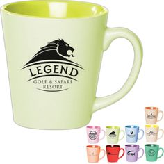 Latte Mug...Tapered two tone 12 oz. pastel latte mug with smooth rim, glossy finish and easy grab-n-go handling. Many vibrant colors to choose from! This coffee mug is perfect for your favorite coffee or tea! Great for home, work, any events and holiday gifts!