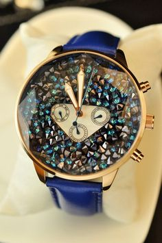 Tanabata gifts large dial sports type Swarovski Elements female casual leather watch watch watch