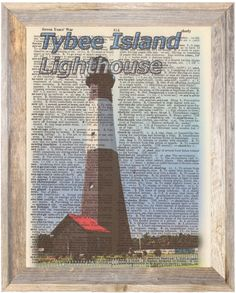 Tybee Island Lighthouse Georgia Altered Art Print Upcycled Vintage Dictionary
