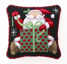 Christmas Santa Needlepoint Pillow - Stephanie Stouffer - Handicraft Home Linen