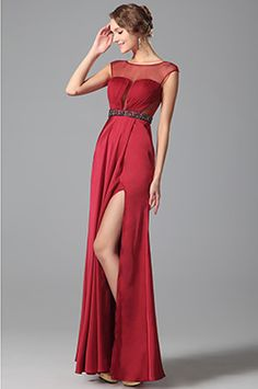 Stylish Pleated Bodice Sheer Overlay Gown With Side Slit (00151302) - EUR 129.99