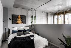A mini loft in concrete design in Sweden Mini Loft, Concrete Bedroom, Small Loft, Concrete Design, Small Apartments, Architecture, Decoration, Furniture Decor, Loft Ideas