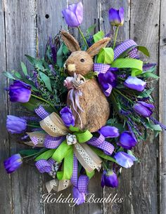 A personal favorite from my Etsy shop https://www.etsy.com/listing/587187349/bunny-lavendar-wreath-bunny-tulip-wreath