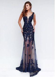 Comprar com desconto Fantastic Tulle & cetim stretch See-through Bainha Vestidos de noite com contas renda apliques em Dressilyme.com