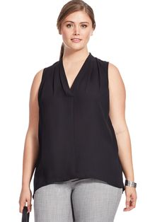 V-Neck Blouse In Black by Vince Camuto   Available in sizes 1X-3X