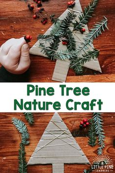 Nature Crafts This simple winter nature craft is the perfect handmade holiday decoration or gift! Children will work on their fine motor skills as they weave pine branches through rubber bands. Kids Crafts, Holiday Crafts For Kids, Preschool Christmas, Tree Crafts, Christmas Activities, Preschool Crafts, Christmas Themes, Kids Christmas, Kids Nature Crafts
