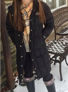 love this Burberry scarf, long north face jacket, and hunter boots!!!