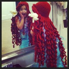 Crochet Ariel Wig made by MomC . Crochet For Kids, Crochet Baby, Knit Crochet, Crochet Princess Hat, Crochet Wigs, Crochet Beanie, Knitted Hats, Yarn Wig, Crochet Costumes