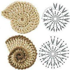 Seashell ♥LCM♥ with diagram ----- Solo esquemas y diseños de crochet: APLIQUES CARACOL