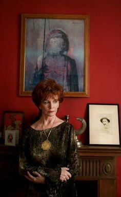 Edna O'Brien in her red study
