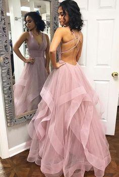 custom drsses Blush Pink Ruffles Ball Gown Criss-Cross Backless Prom Dresses V-neck Long Prom Dress Tulle Evening Dress Formal Gowns Hot Prom Gowns Prom Dresses Long Pink, Straps Prom Dresses, Open Back Prom Dresses, Backless Prom Dresses, Tulle Prom Dress, Dress Up, Dress Long, Pastel Prom Dress, Light Purple Prom Dress
