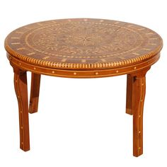 Moroccan Round Coffee Table Inlaid Marquetry | From a unique collection of antique and modern coffee and cocktail tables at https://www.1stdibs.com/furniture/tables/coffee-tables-cocktail-tables/