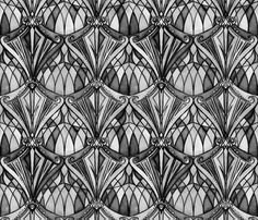 Black and Charcoal Grey Art Deco Pattern fabric by micklyn on Spoonflower - custom fabric