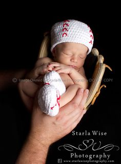 Baseball Crochet Beanie and Booties Set  Newborn