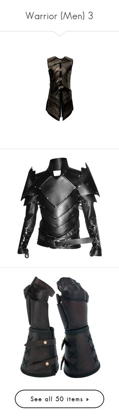 """""""Warrior {Men} 3"""" by ladyequestria ❤ liked on Polyvore featuring armor, medieval, tops, vest, costumes, dragon costume, lady halloween costumes, ladies costumes, leather costumes and womens costumes"""
