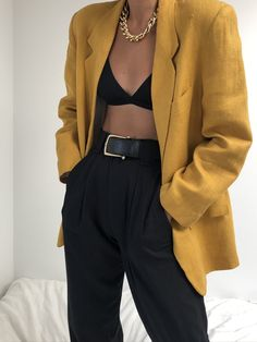 Mustard Linen Blazer paired with Na Nin Townes Trousers