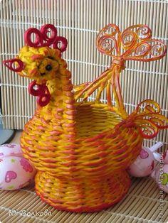 Поделка изделие Пасха Плетение Корзинка для яиц и курочки-несушки Бумага фото 7