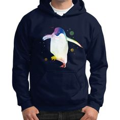 Psychedelic Penguin Gildan Hoodie (on man)