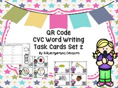 There are two sets of CVC Word Writing Task Cards in this product. There are 12 cards in each set for a total of 24 cards. Cards can be used at a center or as a write the room activity. Students look at the CVC picture featured on the card and write it on the recording sheet next to the letter that is the same letter found in the corner of the card.