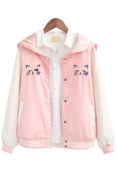 Cute pink cat nautical jacket in 2019 Pastel Fashion, Kawaii Fashion, Cute Fashion, Fashion Outfits, Womens Fashion, Mode Kawaii, Kawaii Cat, Mode Lolita, Pastel Outfit